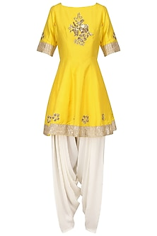 Sunflower Yellow Embroidered Peplum Kurta with Dhoti Salwar Set