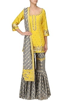 Sunflower Yellow Embroidered Short Kurta with Gharara Set by Ranian