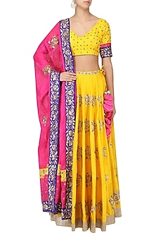 Turmeric Yellow and Pink Embroidered Lehenga Set by Ranian