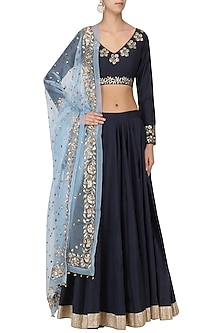 Midnight Blue Embroidered Lehenga Set by Ranian