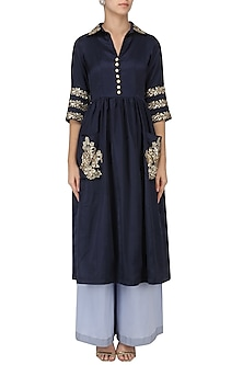 Midnight Blue Embroidered Tunic with Palazzo Pants Set by Ranian