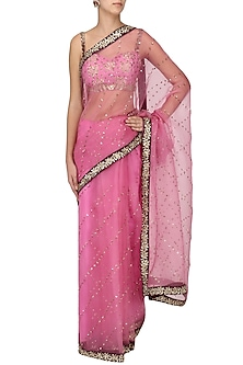 Blush Pink And Wine Embroidered Saree with Blouse by Ranian