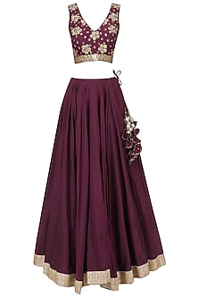Wine and Blush Pink Embroidered Lehenga Set by Ranian