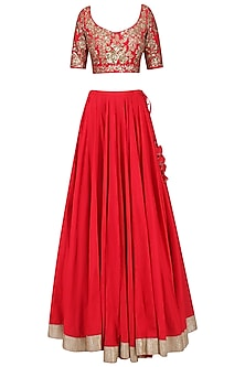 Crimson Red Embroidered Lehenga Set