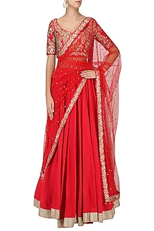 Crimson Red Embroidered Lehenga Set by Ranian