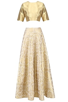 Gold Zari Brocade Lehenga Set by Ranian