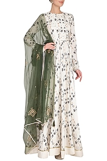 Ivory Embroidered Printed Anarkali Gown With Dupatta by Neha & Tarun