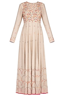Natural Beige Embroidered Anarkali Gown With Dupatta