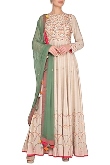 Natural Beige Embroidered Anarkali Gown With Dupatta by Neha & Tarun