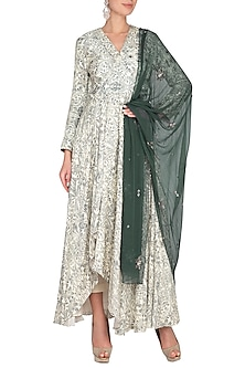 Light Green Embroidered Print Suit Set by Neha & Tarun