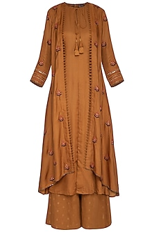 Rust Embroidered Kurta With Attached Jacket & Pants