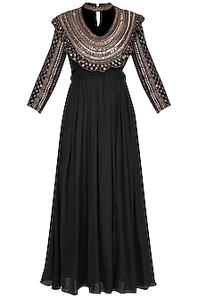 Black Embroidered Pleated Kurta Set