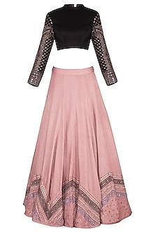 Onion Pink Embroidered Lehenga Set
