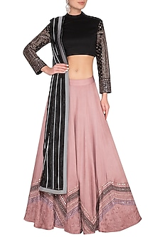Onion Pink Embroidered Lehenga Set by Neha & Tarun