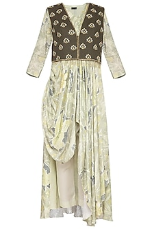Light Green Embroidered Printed Drape Kurta With Pants & Jacket