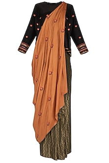 Rust Embroidered Drape Saree