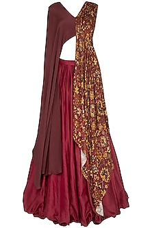 Red Plated Lehenga Skirt With Drape Blouse
