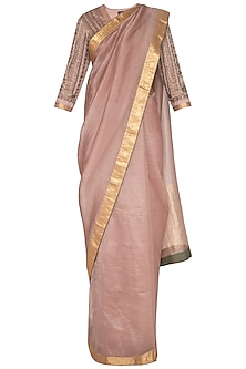 Onion Pink Embroidered Saree Set