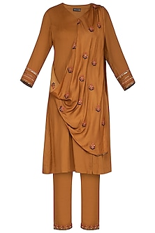 Rust Embroidered Drape Kurta Set