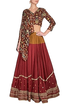 Maroon Embroidered Lehenga Set by Neha & Tarun