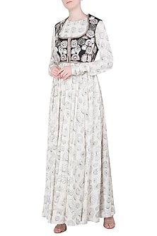 Ivory Printed Anarkali Set with Embroidered Short Jacket by Neha & Tarun