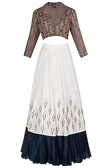 Ivory Embroidered Crop Blazer Blouse with Bustier and Lehenga Skirt