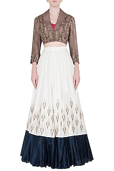 Ivory Embroidered Crop Blazer Blouse with Bustier and Lehenga Skirt by Neha & Tarun