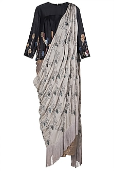 Multi-Coloured Embroidered Fringes Drape Saree Set