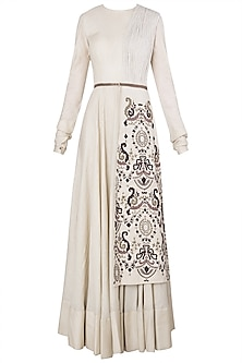 Biege Embroidered Panel Gown
