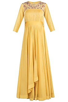 Yellow embroidered anarkali with jacket