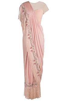 Peach embroidered drape saree