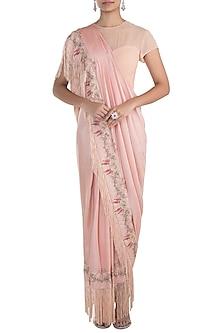 Peach embroidered drape saree by NEHA & TARUN