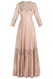 Peach embroidered gown with dupatta