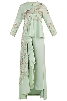 Spring green embroidered cowl kurta with pants