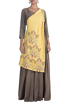 Brown embroidered gown by NEHA & TARUN