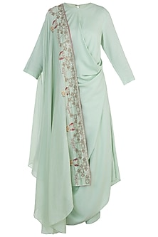 Spring green embroidered kurta set