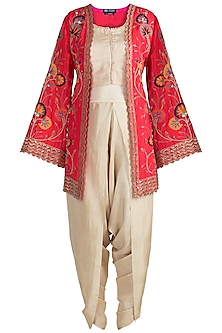Beige Crop Top With Dhoti Pants & Red Embroidered Jacket by Nidhi Agarwal