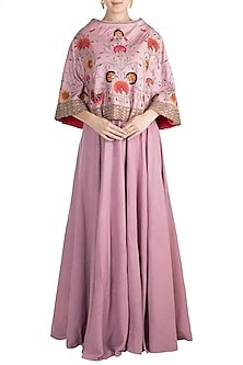 Mauve Embroidered Cape With Skirt & Inner by Nidhi Agarwal
