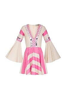 Hot Pink & Beige Embellished Skater Dress by Nitya Bajaj