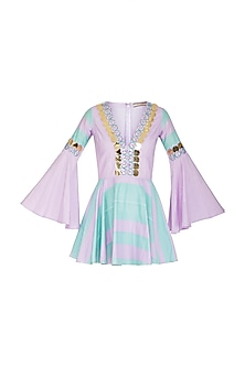 Aquamarine & Lilac Embellished Skater Dress by Nitya Bajaj