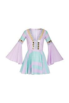 Aquamarine & Lilac Embellished Skater Dress by Nitya Bajaj