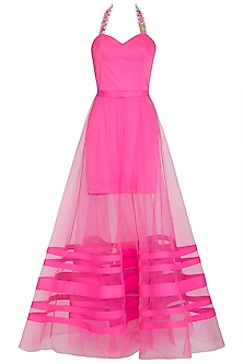 Hot Pink Embellished Dress With Detachable Drape by Nitya Bajaj