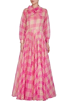 Hot Pink Checkered Maxi Dress by Nitya Bajaj