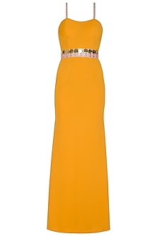Mango Yellow Lycra Knit Gown by Nitya Bajaj