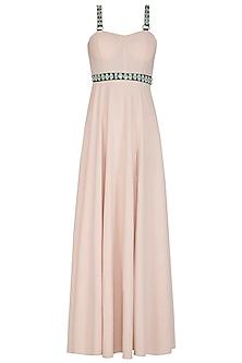 Beige Lycra Slit Gown by Nitya Bajaj