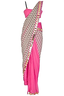 Hot Pink Polka Dot Pant Saree Set by Nitya Bajaj