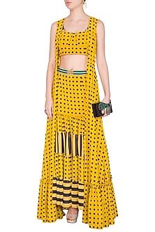 Yellow Polka Dot Bustier With Skirt & Cape by Nitya Bajaj