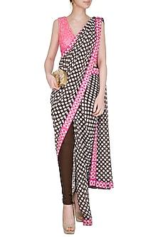 Black & Pink Embellished Pant Saree Set by Nitya Bajaj