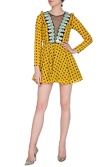 Yellow Polka Dot Skater Dress by Nitya Bajaj