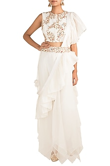White Embroidered Blouse With Pants, Dupatta & Belt by NE'CHI